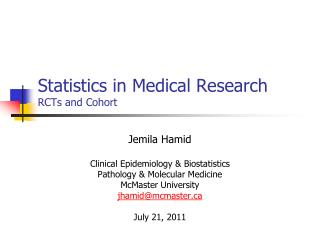 Statistics in Medical Research RCTs and Cohort