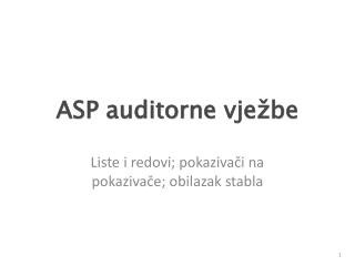 ASP auditorne  vježbe