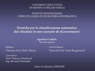 Relatore: Chiar.mo Prof. Paolo Tiberio