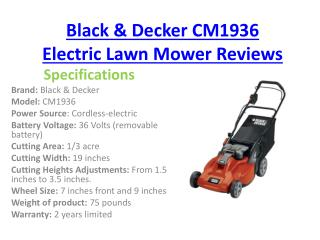 Black and Decker CM1936 Cordless Electric lawn mower Reviews