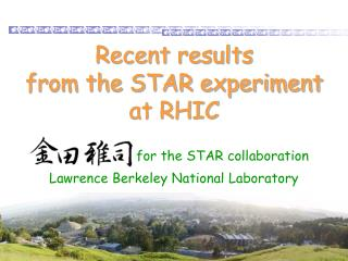 Recent results  from the STAR experiment at RHIC