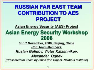 RUSSIAN FAR EAST TEAM CONTRIBUTION TO AES PROJECT