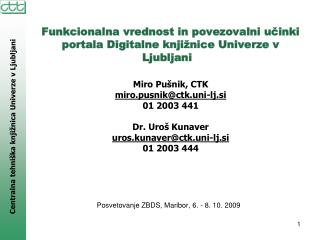 Posvetovanje ZBDS, Maribor, 6. - 8. 10. 2009