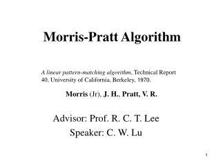 Morris-Pratt Algorithm