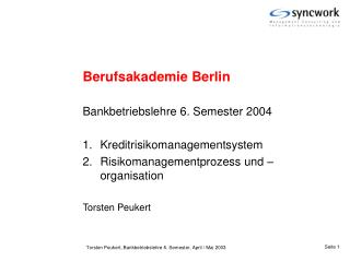 Berufsakademie Berlin Bankbetriebslehre 6. Semester 2004 Kreditrisikomanagementsystem