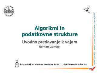 Algoritmi in  podatkovne strukture