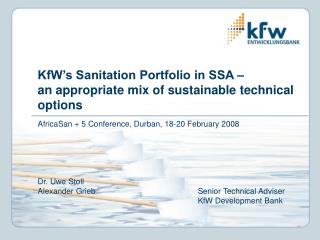 KfW s Sanitation Portfolio in SSA    an appropriate mix of sustainable technical options