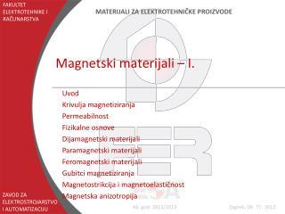Magnetski materijali – I.