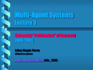 Agent communication Lecture outline