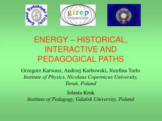 ENERGY – HISTORICAL, INTERACTIVE AND PEDAGOGICAL PATHS