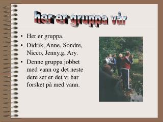 Her er gruppa. Didrik, Anne, Sondre, Nicco, Jenny.g, Ary.
