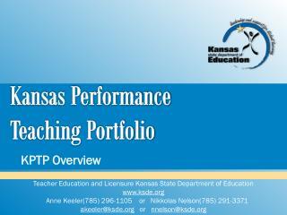 Kansas Performance  Teaching Portfolio