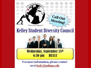 Wednesday, September 15 th 6:30 pm     BU313