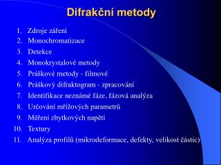 Difrak ční metody