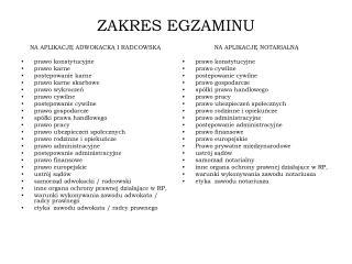 ZAKRES EGZAMINU