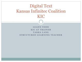 Digital Text  Kansas  Infinitec Coalition KIC