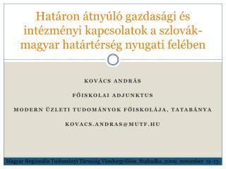 Határon átnyúló gazdasági és intézményi kapcsolatok a szlovák-magyar határtérség nyugati felében