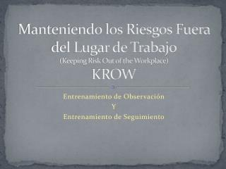 Manteniendo los Riesgos Fuera del Lugar de Trabajo (Keeping Risk Out of the Workplace) KROW
