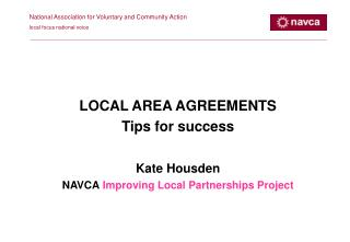 National Association for Voluntary and Community Action local focus national voice