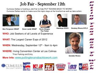 Cumulus Dallas is hosting a Job Fair to help PUT TEXANS BACK TO WORK!