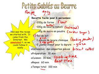 Recette facile pour 6 personnes: 200g de farine 100g de beurre ramolli 100g de sucre en poudre