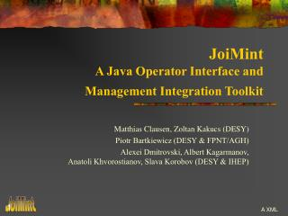 JoiMint A Java Operator Interface and  Management Integration Toolkit