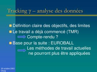 Tracking    – analyse des données