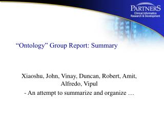 """Ontology"" Group Report: Summary"