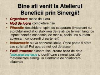 Bine ati venit la Atelierul Beneficii prin Sinergii!