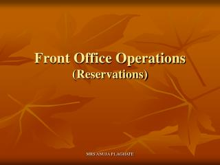 Front Office Operations Reservations