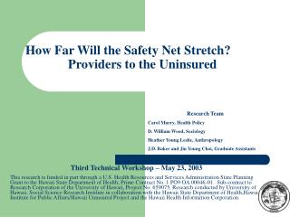 How Far Will the Safety Net Stretch?   	Providers to the Uninsured