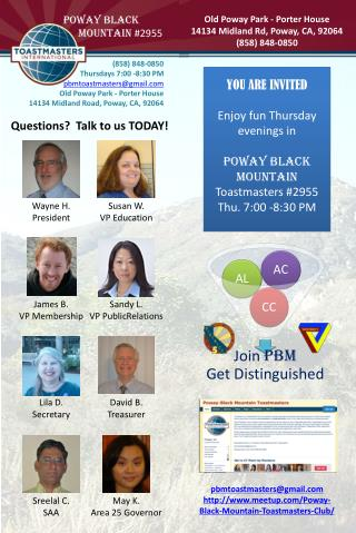 pbmtoastmasters@gmail meetup/Poway-Black-Mountain-Toastmasters-Club/