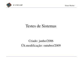 Testes de Sistemas