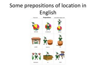 Some prepositions of location in English