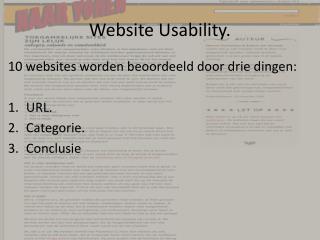 Website Usability.
