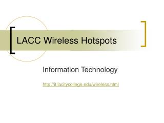LACC Wireless Hotspots