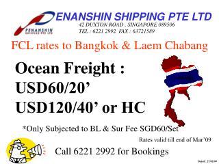 FCL rates to Bangkok & Laem Chabang
