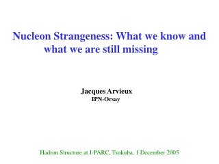 Nucleon Strangeness: What we know and what we are still missing