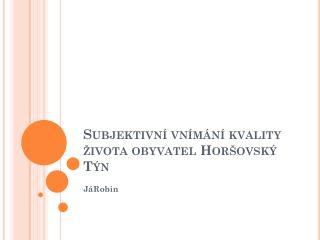 Subjektivní vnímání kvality života obyvatel Horšovský Týn
