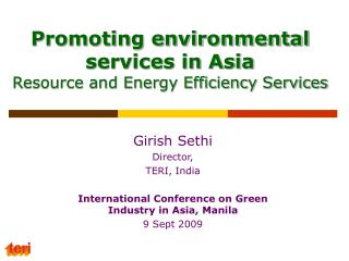 Promoting environmental services in Asia Resource and Energy Efficiency Services