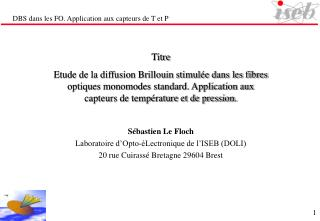 DBS dans les FO. Application aux capteurs de T et P
