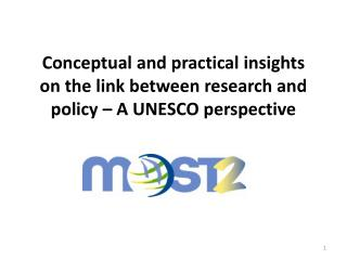 Conceptual and practical insights on the link between research and policy – A UNESCO perspective