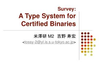 Survey: A Type System for Certified Binaries