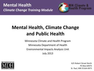 Mental Health, Climate Change and Public Health