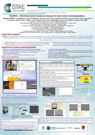 MAISOE - « Microlaboratoires  d'analyses  in situ  pour des observatoires environnementaux»