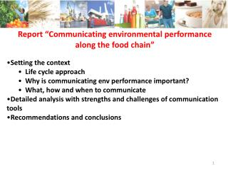 """Report """"Communicating environmental performance along the food chain"""""""