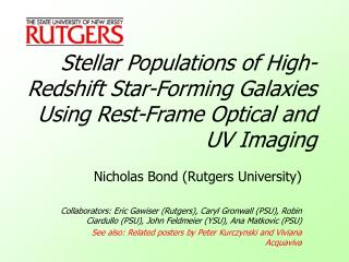 Nicholas Bond (Rutgers University)