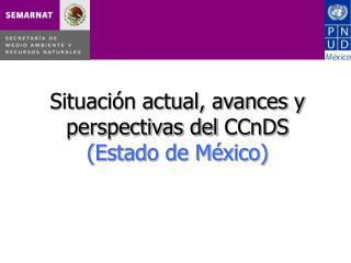 Situaci�n actual, avances y perspectivas del  CCnDS (Estado de M�xico)