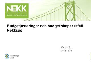 Budgetjusteringar och budget skapar utfall Nekksus