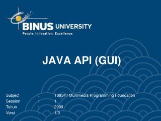 JAVA API (GUI)